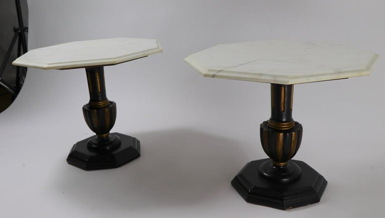 Pair Italian Marble Top Tables with Polychrome Bases For Sale 7