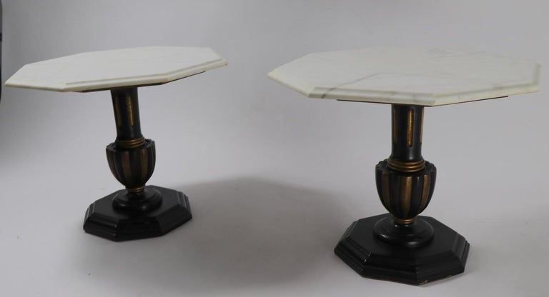 Grand Tour Pair Italian Marble Top Tables with Polychrome Bases For Sale
