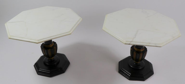Polychromed Pair Italian Marble Top Tables with Polychrome Bases For Sale