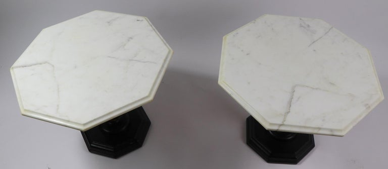 Pair Italian Marble Top Tables with Polychrome Bases In Good Condition For Sale In New York, NY