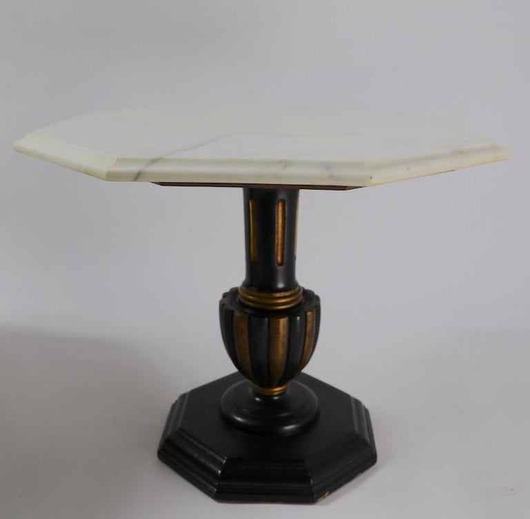 Mid-20th Century Pair Italian Marble Top Tables with Polychrome Bases For Sale
