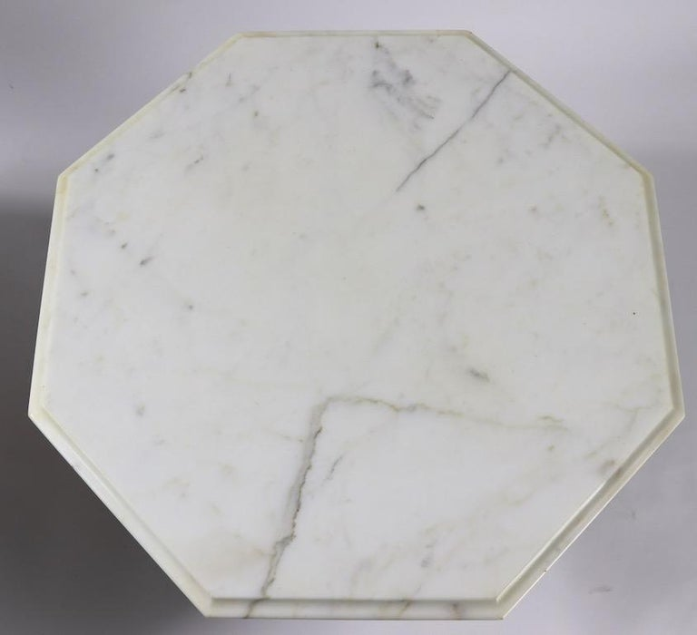 Pair Italian Marble Top Tables with Polychrome Bases For Sale 2