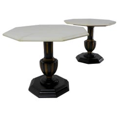 Pair Italian Marble Top Tables with Polychrome Bases