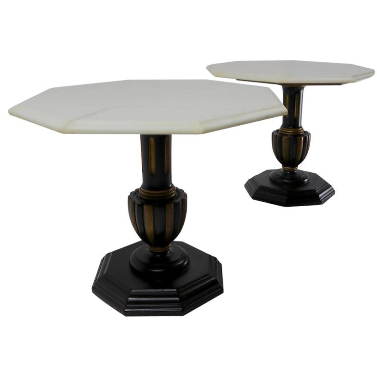 Pair Italian Marble Top Tables with Polychrome Bases For Sale