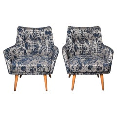 Pair of Italian Midcentury Armchairs with Blue and Silver Upholstery