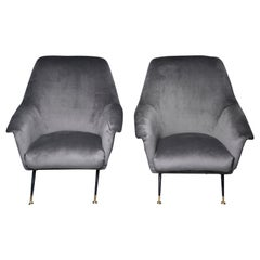 Pair of Italian Midcentury Chairs with Gray Velvet Upholstery and Metal Legs