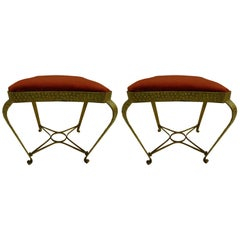 Pair of Italian Midcentury Hand-Hammered & Gilt Iron Benches by Pier Luigi Colli