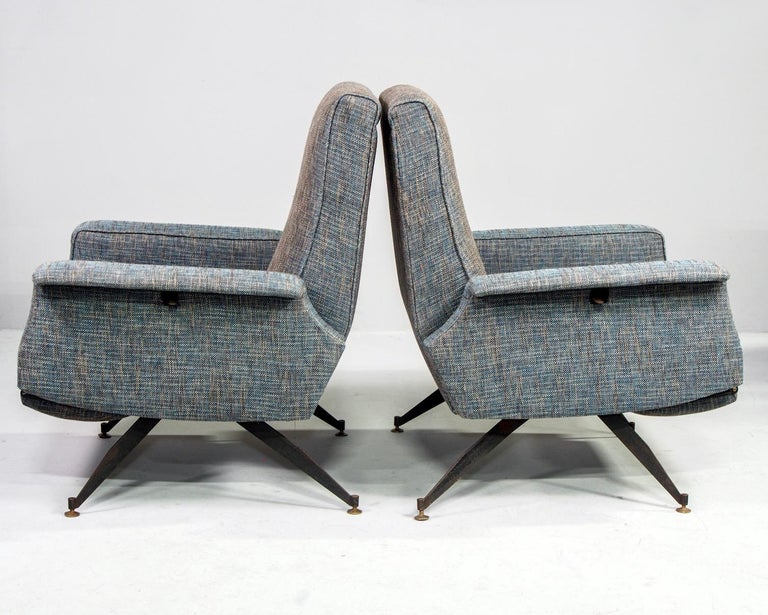 Mid-Century Modern Pair of Italian Midcentury Lounge Chairs with New Tweed Upholstery For Sale