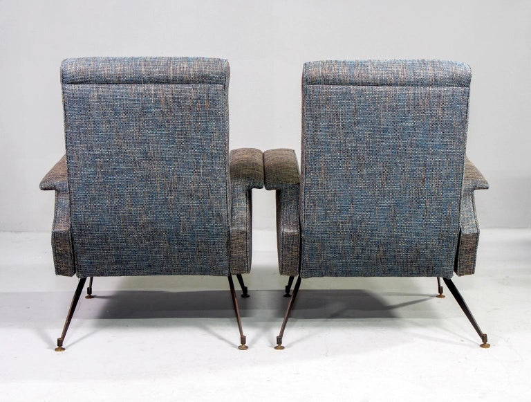 20th Century Pair of Italian Midcentury Lounge Chairs with New Tweed Upholstery For Sale