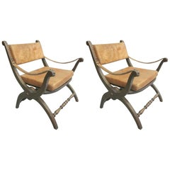 Pair of Italian Mid-Century Modern Neoclassical Leather Armchairs/ Lounge Chairs