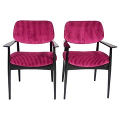 Pair of Italian Midcentury Side Chairs with New Ribbed Velvet Upholstery
