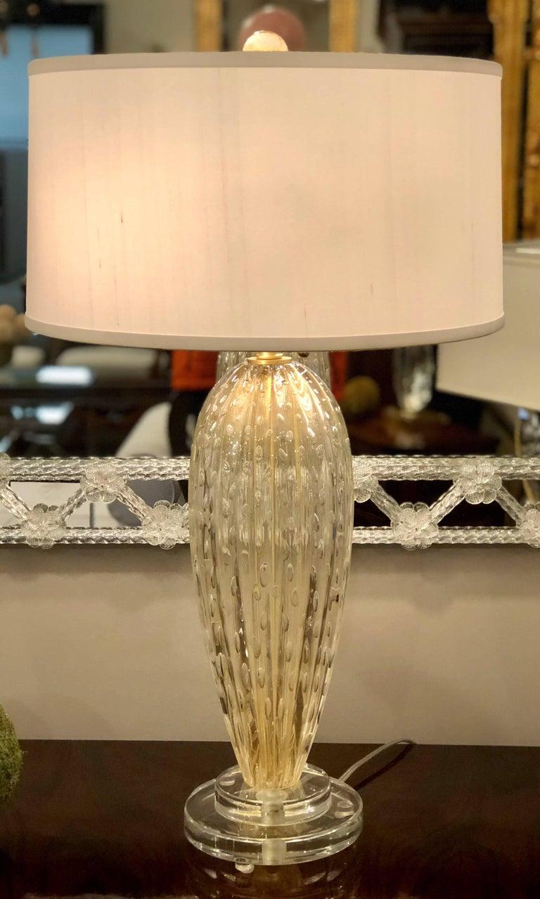Italian Midcentury Style Clear And Gold Murano Venetian Glass