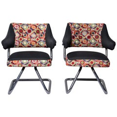 Pair Italian Midcentury Swivel Chairs With Chrome Base and Missoni Style Fabric