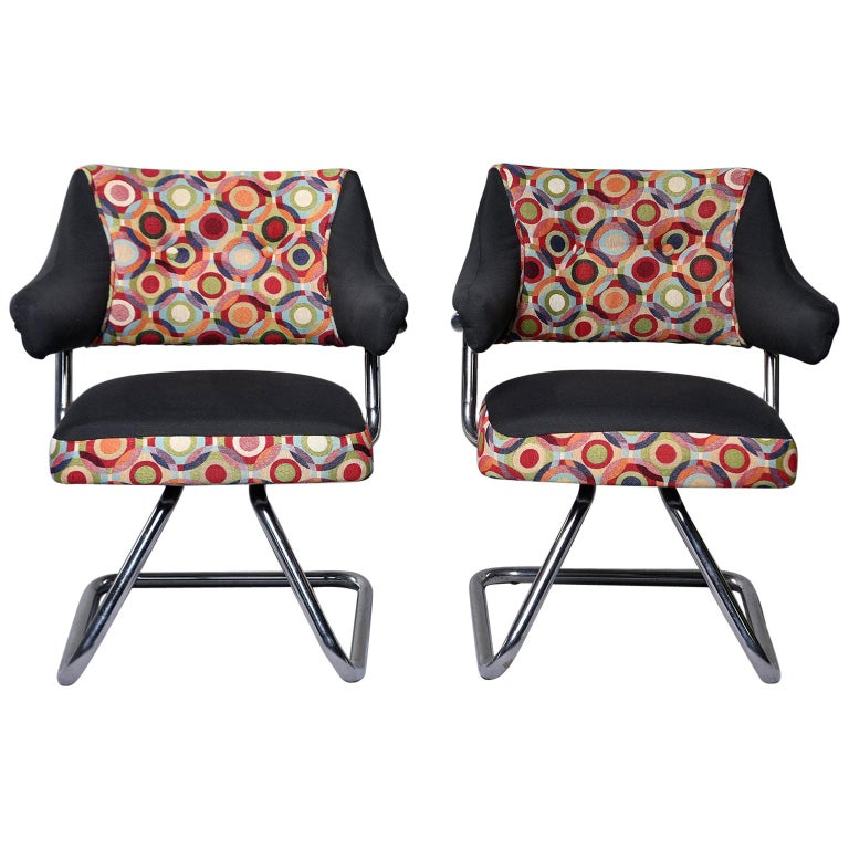 Missoni Fabric Covered Bergere Chair: Pair Italian Midcentury Swivel Chairs With Chrome Base And
