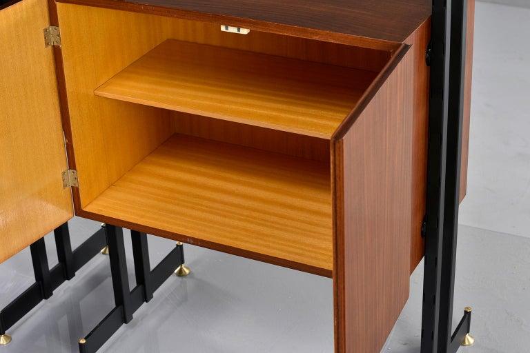 Pair of Italian Midcentury Teak and Metal Etagere Cabinets 10