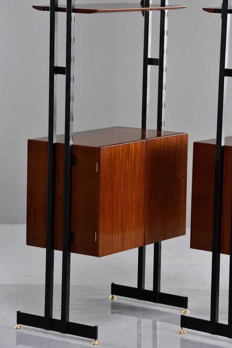 Pair of Italian Midcentury Teak and Metal Etagere Cabinets 11
