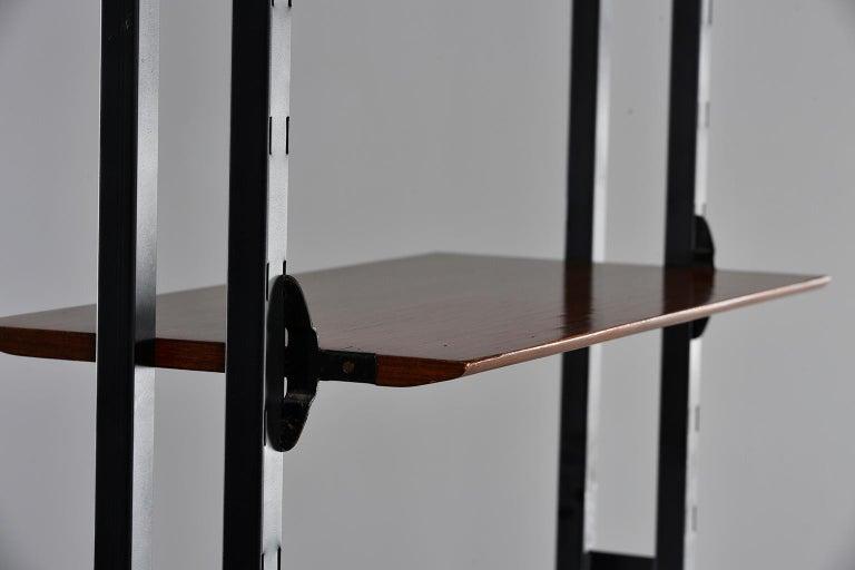 Pair of Italian Midcentury Teak and Metal Etagere Cabinets 12