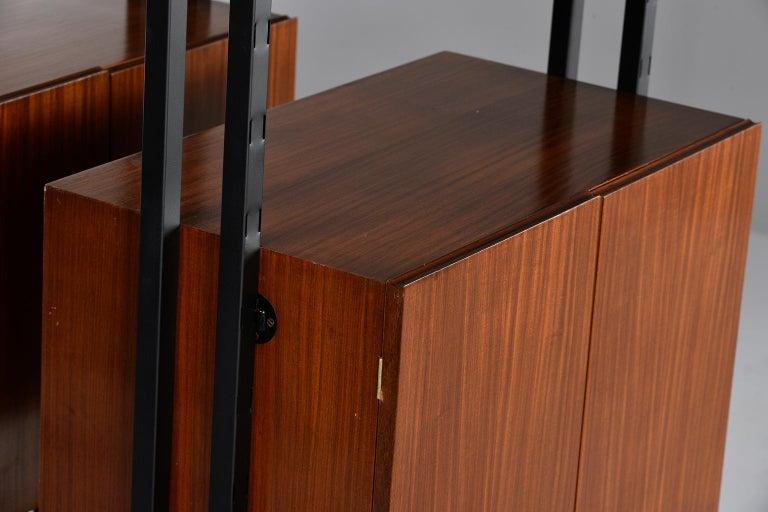 Pair of Italian Midcentury Teak and Metal Etagere Cabinets 13