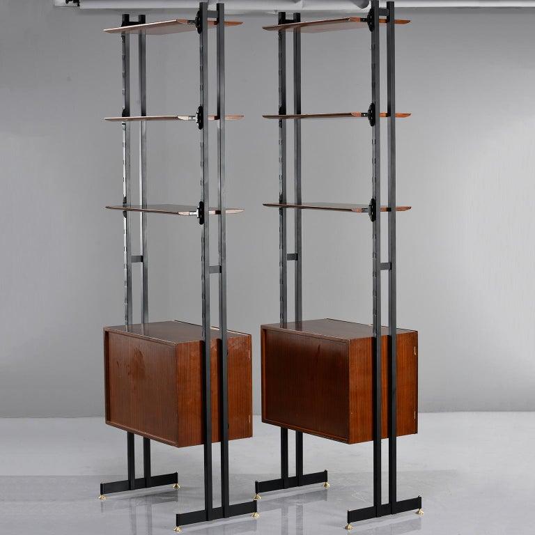 Pair of Italian Midcentury Teak and Metal Etagere Cabinets 2