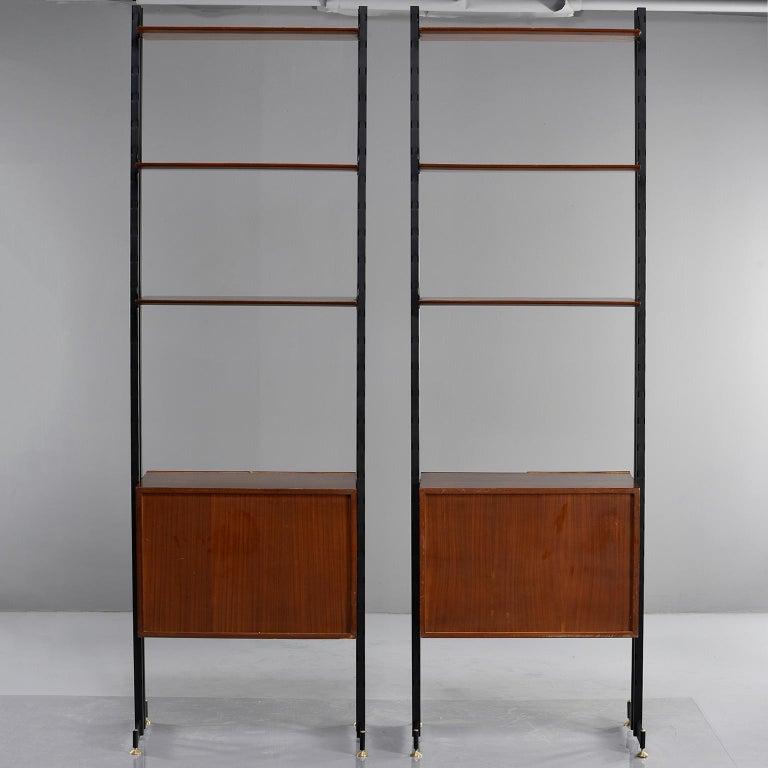 Pair of Italian Midcentury Teak and Metal Etagere Cabinets 4