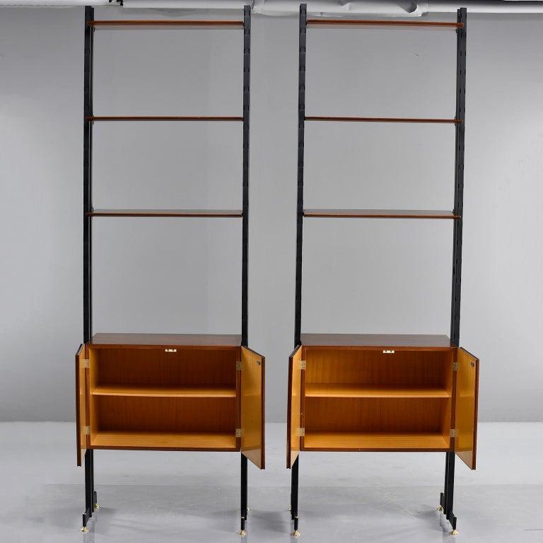 Pair of Italian Midcentury Teak and Metal Etagere Cabinets 5