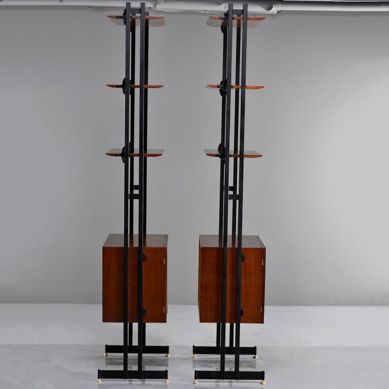 Pair of Italian Midcentury Teak and Metal Etagere Cabinets 6
