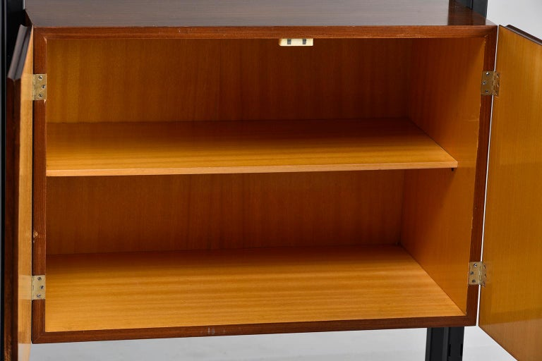 Pair of Italian Midcentury Teak and Metal Etagere Cabinets 7
