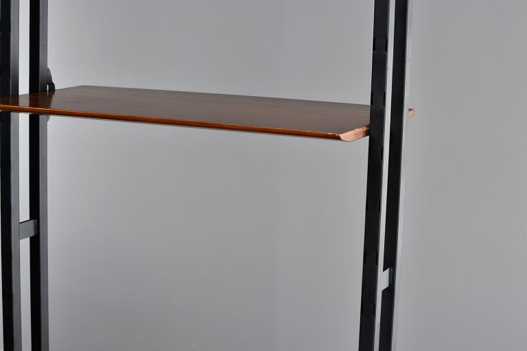 Pair of Italian Midcentury Teak and Metal Etagere Cabinets 9