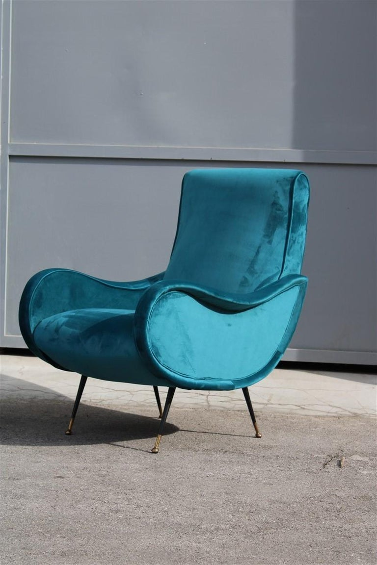 Pair of Italian midcentury Zanuso style armchairs velvet green brass part, 1950s.
