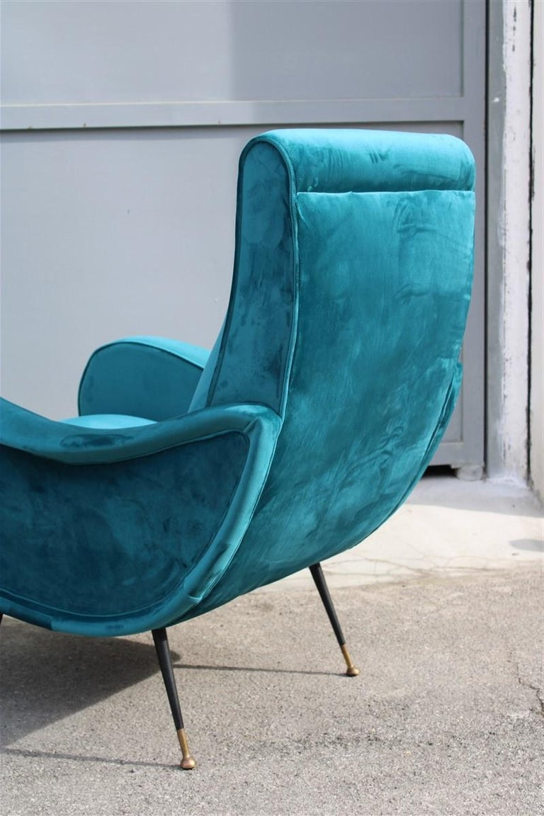 Pair of Italian Midcentury Zanuso Style Armchairs Velvet Green Brass Part, 1950s In Good Condition For Sale In Palermo, Sicily