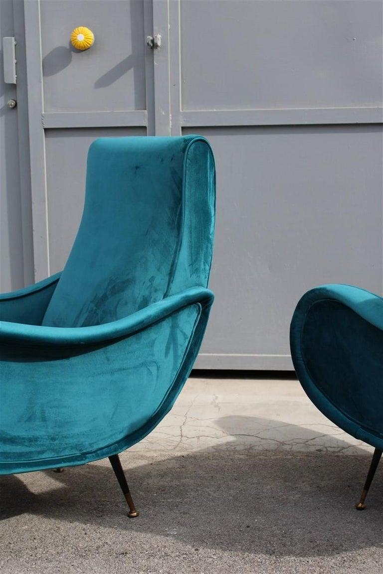 Pair of Italian Midcentury Zanuso Style Armchairs Velvet Green Brass Part, 1950s For Sale 1