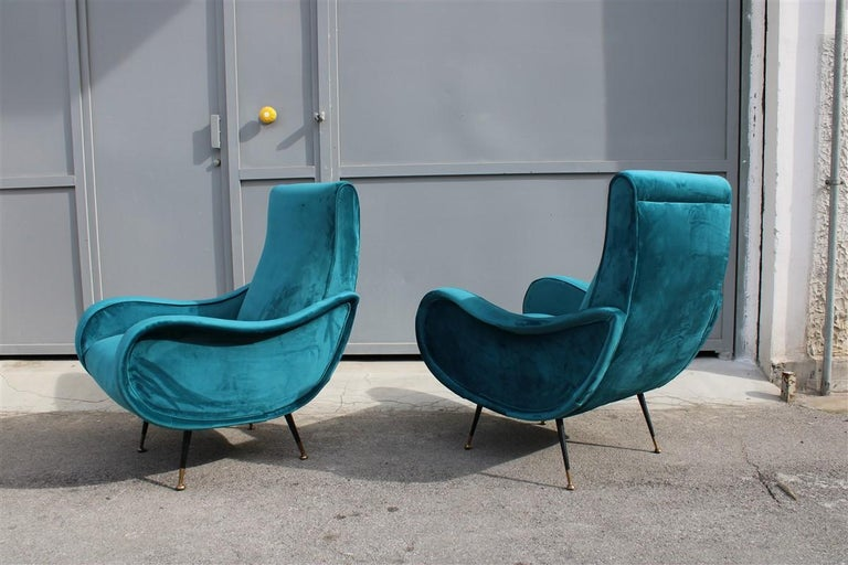 Pair of Italian Midcentury Zanuso Style Armchairs Velvet Green Brass Part, 1950s For Sale 3