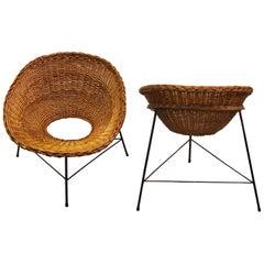 Pair Italian Midcentury Iron and Rattan Lounge Chairs Attribute to Augusto Bozzi