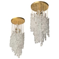 Pair of Italian Modern Hand Blown Glass and Brass Chandeliers, Mazzega