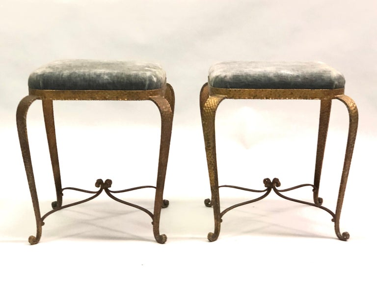 Mid-Century Modern Italian Modern Neoclassical Gilt Iron Stools / Benches by Pier Luigi Colli, Pair For Sale