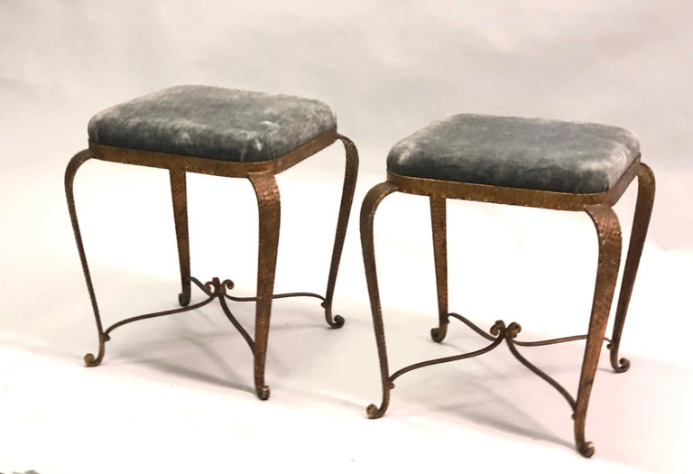 Italian Modern Neoclassical Gilt Iron Stools / Benches by Pier Luigi Colli, Pair In Good Condition For Sale In New York, NY