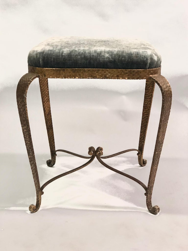 20th Century Italian Modern Neoclassical Gilt Iron Stools / Benches by Pier Luigi Colli, Pair For Sale