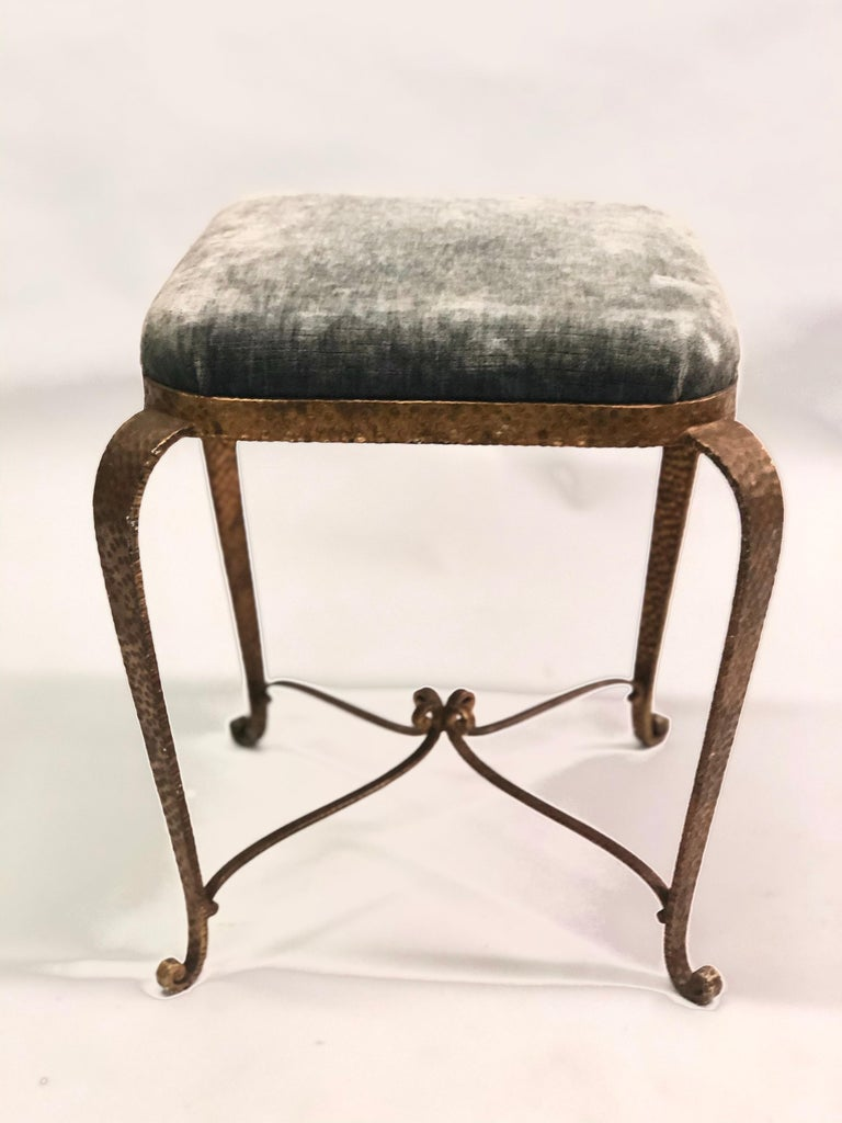 Upholstery Italian Modern Neoclassical Gilt Iron Stools / Benches by Pier Luigi Colli, Pair For Sale