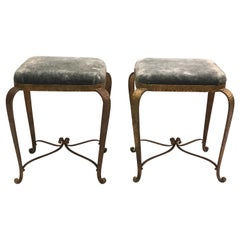 Italian Modern Neoclassical Gilt Iron Stools / Benches by Pier Luigi Colli, Pair