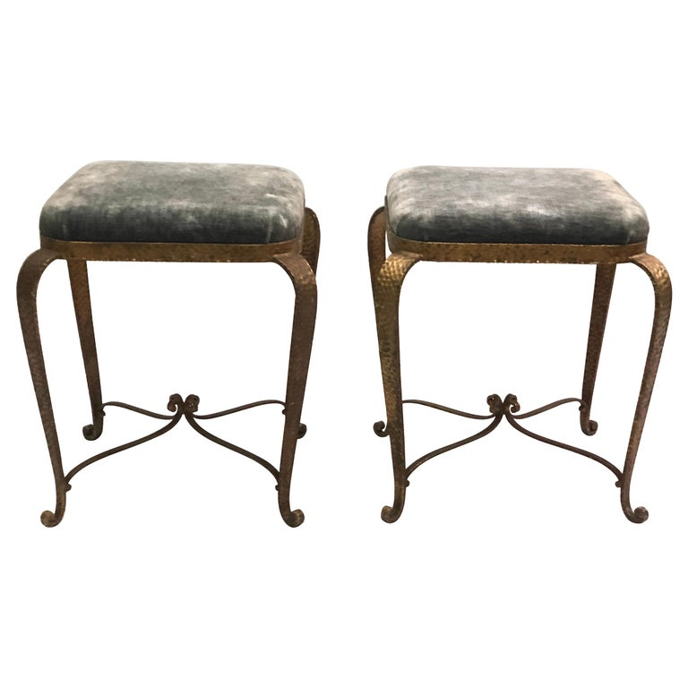 Italian Modern Neoclassical Gilt Iron Stools / Benches by Pier Luigi Colli, Pair For Sale