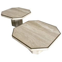 Italian Modern Travertine Marble Low Tables for Jean Charles, Willy Rizzo, Pair