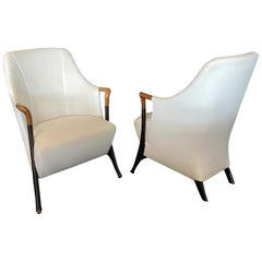 Italian Modern Walnut & Ebonized Club Chairs, Umberto Asnago for Giorgetti, Pair