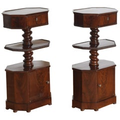 Pair of Italian, Naples, Mahogany 3-Tier Pedestal Cabinets, Mid-19th Century