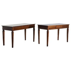 Pair of Italian Neoclassic Walnut 1-Drawer Console Tables, 19th Century