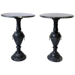 Italian Black and White Marble Round Side Tables