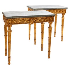 Pair of Italian Neoclassical Giltwood and Marble Console Tables, circa 1780