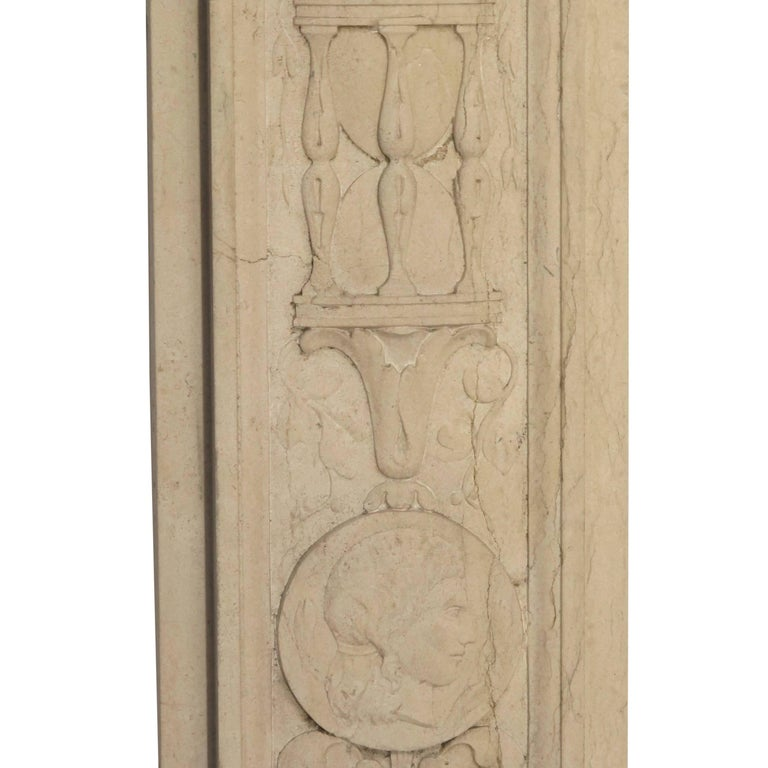 Italian Neoclassical Style Carved Marble Pilasters Architectural Elements, Pair For Sale 6
