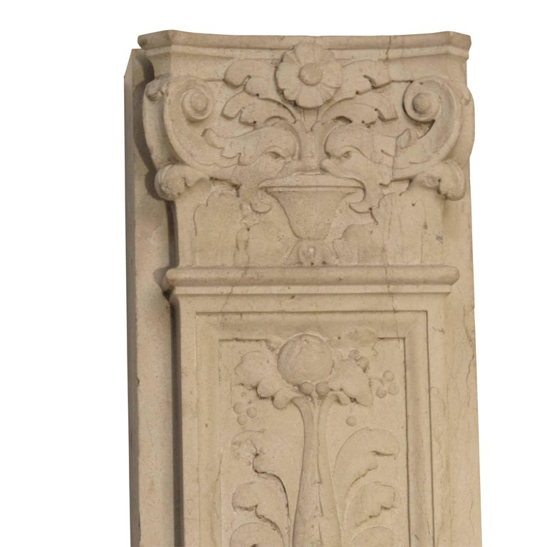 Italian Neoclassical Style Carved Marble Pilasters Architectural Elements, Pair For Sale 8