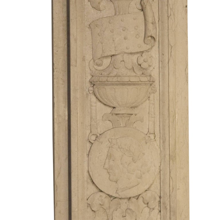 Italian Neoclassical Style Carved Marble Pilasters Architectural Elements, Pair For Sale 9