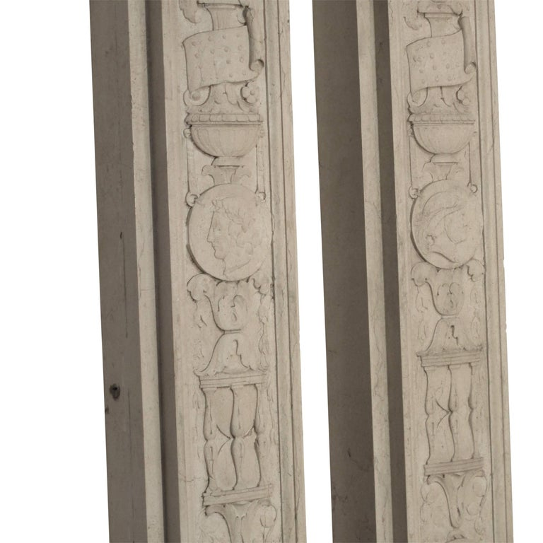 Italian Neoclassical Style Carved Marble Pilasters Architectural Elements, Pair For Sale 10